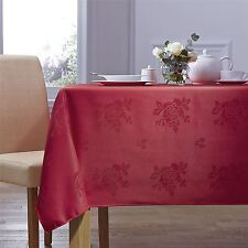 """WOVEN DAMASK ROSE RED CIRCULAR ROUND TABLECLOTH 70"""" (178CM)"""