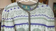 Women's Giesswein Austria Green & Purple Pure Wool Sweater, Size 42?