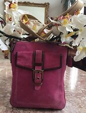 Authentic COACH  8E87 Messenger Cross-body Swingpack Pink Brown Suede Bag