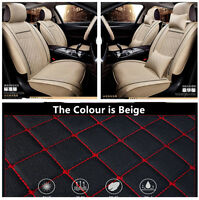PU Leather 5-seat Car Front Row Seat Covers Cushions w/Pillow Comfortable Beige