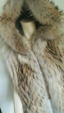 Scoop NYC Real Racoon Fur Vest Jacket with Hood Sz S M