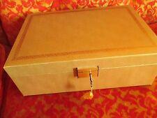 "True Vintage 50s Gold Wooden Princess Gardner Jewelry Box Sweden w/Key 12x9x4"""