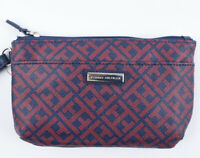 TOMMY HILFIGER Faux Leather Monogram Wristlet / Pouch / Purse, Red/Navy