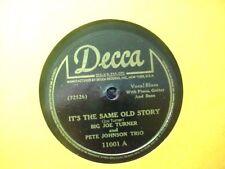 BIG JOE TURNER & PETE JOHNSON DECCA it's the same old story RARE R&B BLUES 78