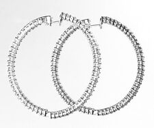cts Diamond in 18k White Gold/Ch Inside & Out Hoop Earring with 2.50