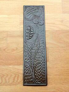 ANTIQUE BRASS  FINISH ARTS & CRAFTS FINGER DOOR PUSH PLATES FINGERPLATE HANDLES