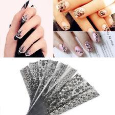 20Pcs/Set Black Lace Flower Nails Transfer Foil Beauty Nail Art Stickers Decals