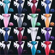 Conjunto de corbata para hombre liso liso de seda 50 colores rojo azul negro ver