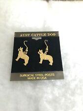 Australian Cattle Dog Gold Plated Ear Rings