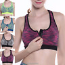 Women Padded Sports Bra Front Zip Yoga Gym Workout Running High Impact Crop Top