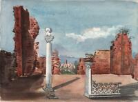 RUINS IN ROME ITALY Victorian Watercolour Painting 1875