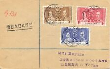 """SWAZILAND 1937 coronation on superb R-FDC to Leeds, England, L1 """"MBABANE"""" RR!!"""