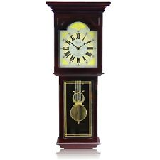 """BEDFORD BED7247 REDWOOD 23"""" GRANDFATHER WALL CLOCK with PENDULUM and 4 CHIMES"""