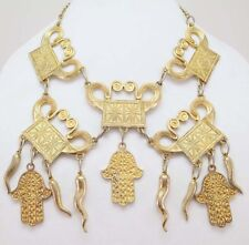 MASSIVE VINTAGE ALEXIS KIRK NECKLACE FATIMA CHARMS RUNWAY COUTURE FESTOON BIB