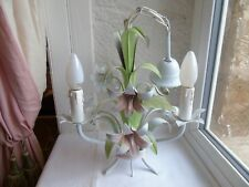 French tole chandelier shabby chic 3 light floral pastel color vintage
