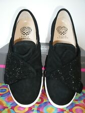 New.   Vince Camuto  BARITA   BLACK  Suede  Embellished  Sneaker    9W