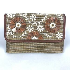 Tommy Bahama Naples Convertible Shoulder Bag Neutral Floral Wood Beaded Clutch