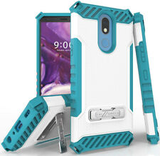 Tri-Shield Rugged Case Cover Kickstand Lanyard Strap for LG K40, Solo, K12 Plus