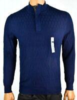 Tasso Elba Mens Sweater M New Navy Blue Collared Supima Cotton Long Sleeve