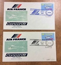{BJ STAMPS} CONCORDE Air France FFC Mexico to PARIS 1978 2 covers