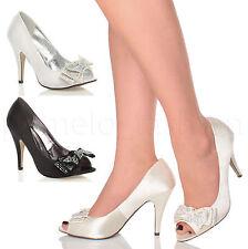 Women's Satin Slim High Heel (3-4.5 in.) Peep Toes Shoes