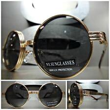 Mens Women CLASSIC VINTAGE 60s LENNON Style SUN GLASSES Round Gold Fashion Frame