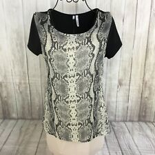 Maurices Studio Y Silver Python Print Short Sleeve Shirt Size Small Hi Lo NWT