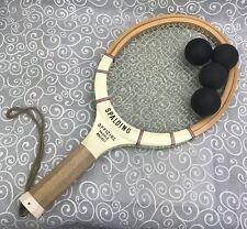 Vintage SPALDING Official Paddle Racket Wooden EUC 54-445 & Balls