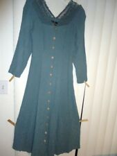 Vtg ladies sz M 8-10 Carole Little long blue/green dress abalone buttons