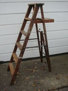 """Vintage Wood Wooden 6 Step Ladder Rustic Painter. 5' 4"""" High. LOCAL PICKUP ONLY."""