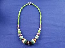 Necklace Hand Made Silver, Glass, Wood, Clay Multi-Colored Beads Vintage