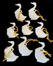 Goose Duck Geese 8 pc. White Porcelain Ornaments Christmas Baby Shower Two Sided