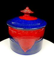 """STUDIO ART POTTERY MITCH SIGNED STONEWARE WHEEL THROWN 8 1/4"""" CANISTER WITH LID"""
