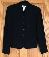 Talbots  Collarless 4 Button Jacket Blazer  Black  Size 6