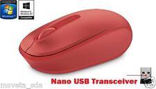 NEW Microsoft Wireless Mobile Mouse 1850 RED Nano USB Transceiver Windows 10