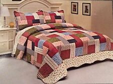English Roses Bedding Quilt Bedspread Coverlet 3 PC Reversible Full Queen Set