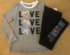 Justice Girl Grey Love Valentines Tee And Black Leggings Outfit 8 12 14 16
