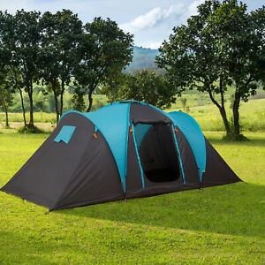 Outsunny Camping Tent with Easy Setup for Vacation 4 to 5 Persons Two Doors