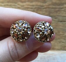 Fab Vintage Style Rhinestone Earrings/Gold & Brown/Retro/50's/60's Look/Clip On