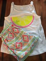 Gymboree Girls Lemon Wedge Knot Tank w/ Cotton Triangle Shorts NWT GYM3
