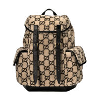 NWT Authentic Gucci 598184 Monogram GG Wool & Leather Backpack