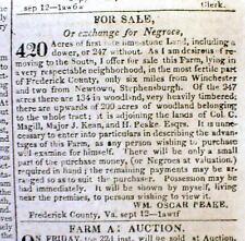 1826 Washington DC newspaper w AD: Will TRADE VA REAL ESTATE for NEGRO SLAVES !