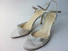 KATE SPADE SILVER LEATHER STRAPPY HIGH HEEL SANDAL W ANKLE STRAP SZ 9.5M ITALY