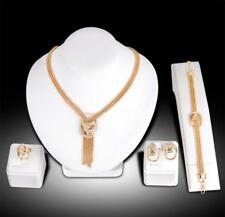 Fashion silver gold plated women necklace earring bracelet ring jewelry set