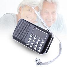 Mini Portable LCD Digital AM Radio HIFI Speaker USB SD TF Card Mp3 Player Black
