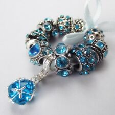 10PCs December Birthstone Turquoise Teal Blue Zircon For European Charm Bracelet