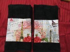 Towels in PARIS  2/ Custom Decorated Black  Michael Miller Fabric Custom Towels