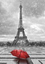 PARIS IN THE RAIN *  LARGE A3 SIZE QUALITY CANVAS ART PRINT