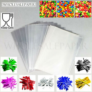 CLEAR CELLOPHANE BAGS SMALL LARGE FOOD CELLO PLASTIC GIFT SWEETS WITH TWIST TIES