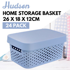 12 x Hudson Basket with Lid Multipurpose Storage Home Office Organiser 26x18x12